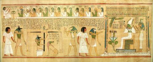 Papyrus of Hunefer: The deceased's heart is weighed against the feather of truth.
