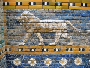 Lions, symbol of Ishtar, Goddess of Love and War. From Wikimedia.